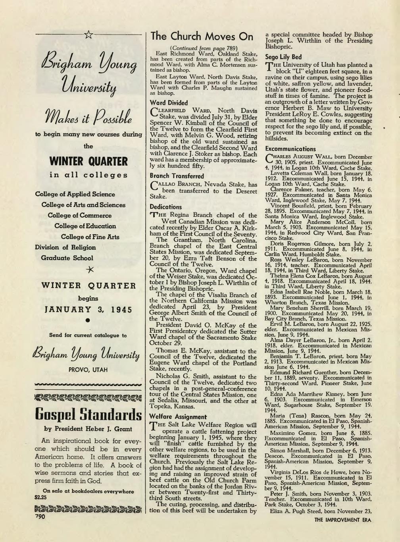 Ross LeBaron 1944 excommunication